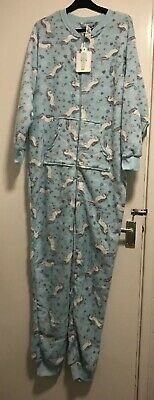 BNWT Ladies Primark Fleece Mint  Unicorn Patterned All In One. Size L 14-16