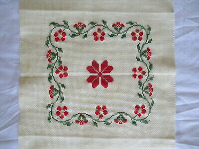 Cross Stitch Craft Red & Green Completed Unframed 24 X 24 Cm