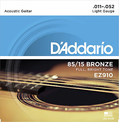 D'Addario EZ910 Bronze Acoustic Guitar Strings 11-52 Gauge.Bright Sounding Tone