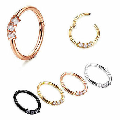 Hinged Segment Ring with Triple CZ Gem Septum Clicker Nipple Nose Hoop Piercing
