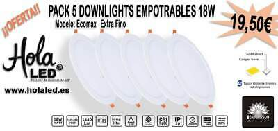 Pack de 5 LED Downlights focos led empotrables extrafinos. 18W-1440 Lúmenes