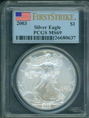 2003  American Silver Eagle ASE S$1 PCGS MS69 MS-69 FIRST STRIKE FS !!!