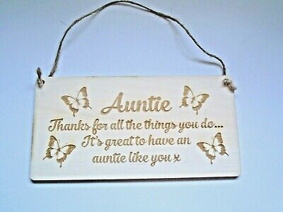 Auntie thank you for all-Wooden Plaque sign shabby chic birthday gift thank you