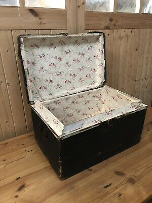 Antique Vintage Old Chest / Trunk / Blanket Box Coffee Table Steamer