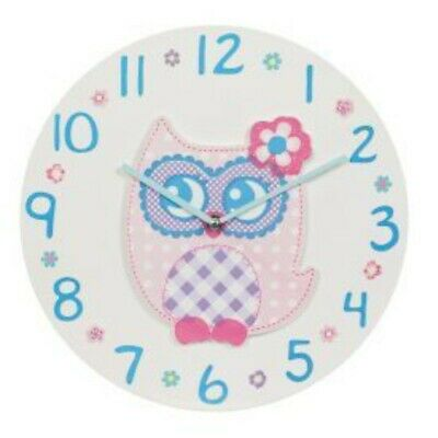 Tickin' Animal Shaped Picture Wall Clock  Battery Operated Owl Clock Pink
