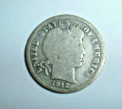 COIN United States Silver  1912-D  10C  BARBER  DIME  10 Cents 90% Silver