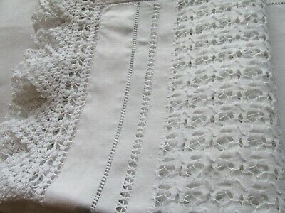 Antique Irish Linen Alter Cloth-Curtain/Bed Drape-Beautiful Hand Crafted Textile