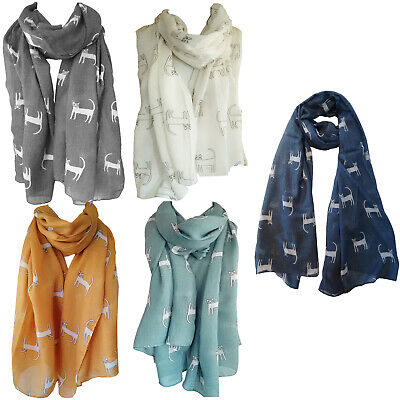 LADIES NAVY BLUE KITTY PRINT METALLIC FOIL SCARF CAT WHISKERS AND EARS  PRINT