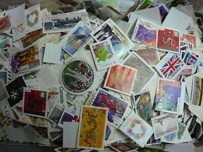 LOT# 2  CANADA 1,000 used stamps from mega mixture  off paper