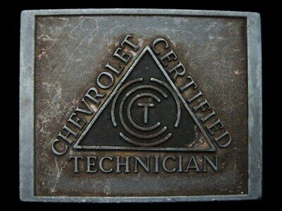 LA19148 VINTAGE 1970s ***CHEVROLET*** CHEVY CERTIFIED TECHNICIAN BELT BUCKLE