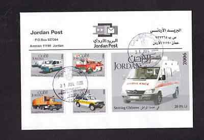 Jordan 2006 FDC 1st day cover Serving Citizens Vehicles Ambulance Fire Others