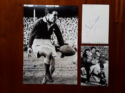 HAND-SIGNED 1950s WELSH RUGBY UNION LEGEND CLIFF MORGAN WHITE CARD/UNSIGNED PICS
