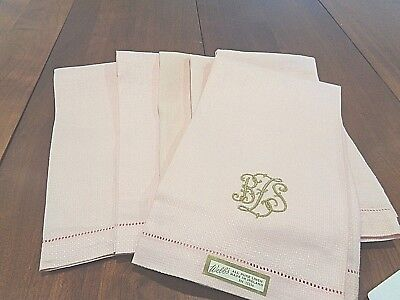 Set of 6 Antique with 100% Linen Hand Towels NEW with Initials