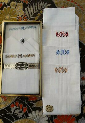 Vintage LOT of 6 NOS Monogrammed Handkerchiefs M Monogram Cotton Embroidery