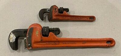 """2 RIDGID Pipe Wrenches 6"""" & 10"""" Heavy Duty USA Tools"""