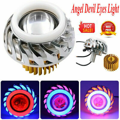 Dual Halo Motorcycle Headlight LED Projector Lens Angel Devil Eye Spot Light AU