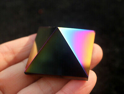 33g Angel Rainbow Aura Quartz Crystal Bismuth Titanium Silicon Pyramid
