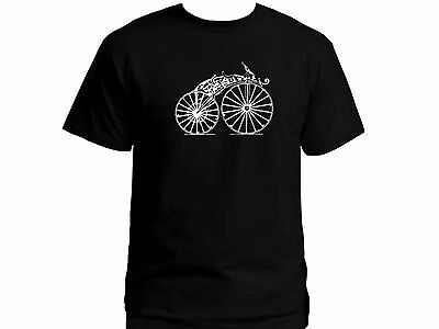 Vintage motorcycle very old bike retro look black 100% cotton graphic t-shirt