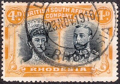 Rhodesia 1910 Double Heads 4d No gash prtg # 13 with full printers mark used