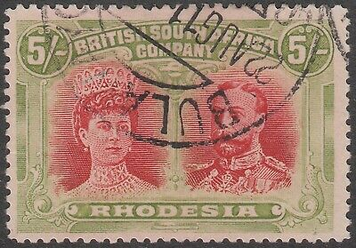 Rhodesia 1910 Double Heads 5s crimson and yellow-green very fine used. SG 160a