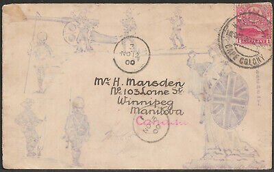 South Africa Anglo Boer War 1900 Illustrated cover ex Cape Town to Canada