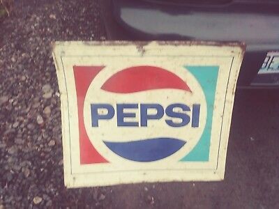 """Vintage 1970's Old Pepsi Cola Tin Metal Embossed Sign, 30"""" x 26.5"""", Made in USA"""
