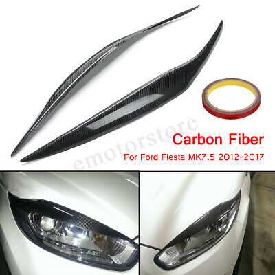 Car Headlight Eyebrows Eyelids Cover Carbon Fiber For Ford Fiesta Facelift MK7.5