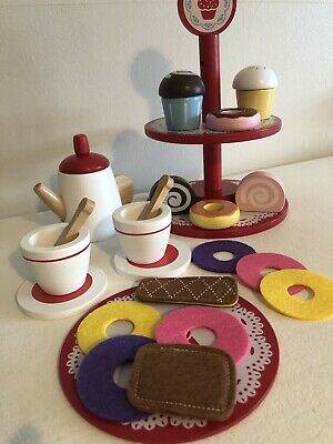 🍰Wooden Role Play Food For Toy Kitchen - Tea Set & Cake Stand Bundle🍰