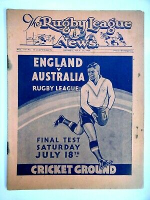 1936 THE RUGBY LEAGUE  NEWS MATCH PROGRAMME. VOL 17 no 16