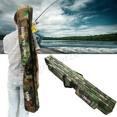 3Layer Folding Fishing Rod Reel Bag Pole Carry Case Carrier Travel Organizer Box