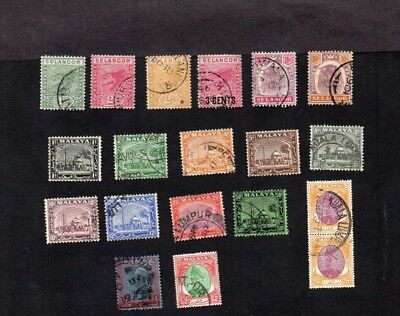 Malaya. Selangor. Collection Of 18 Diff Old Stamps Values To $2.inc 'tigers'