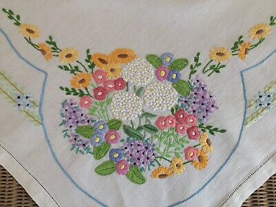 Beautiful Vintage Small Linen Tablecloth Raised Hand Embroidery