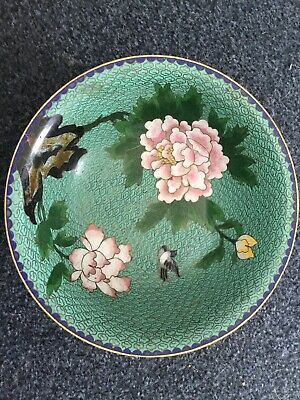 Oriental.cloisonne Bowl.peony Flowers And Birds