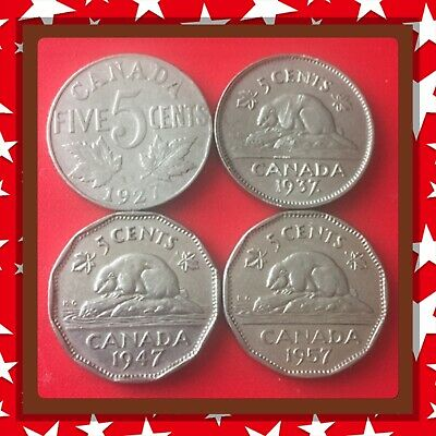 🇨🇦1927-1937-1947-1957 Canada five cents Canadian nickels  Coins #1484🇨🇦