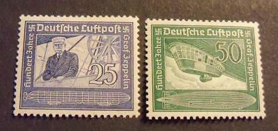 Germany 1938 Nazi * 100th Anniversary of Graf Zeppelin stamp set -MH-
