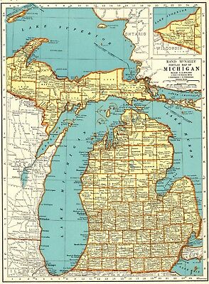 1937 Antique MICHIGAN State Map Gallery Wall Art Vintage Map of Michigan #6352
