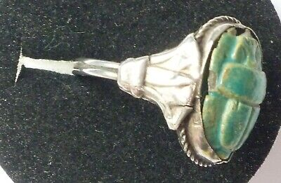 Antique STERLING SILVER Art Deco Egyptian Green Scarab Beetle Ring,Size N /6,5