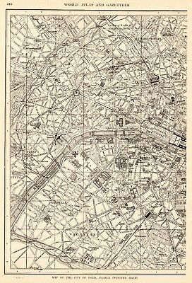 1918 Antique PARIS Map Vintage City Map of Paris France Gallery Wall Art 6360