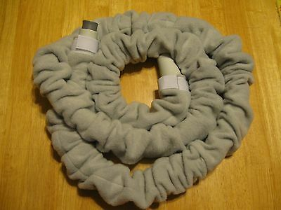 Fleece insulating CPAP BiPAP hose cover polyester for 6-9 foot long light gray