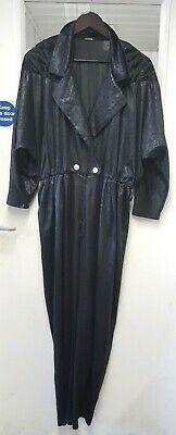 Vintage 70s 80s Style Black Jumpsuit Boiler Suit All In One With Animal Print