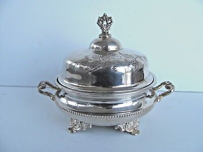 Antique Toronto Silver Co Silverplated Lidded Butter Dish Floral decoration