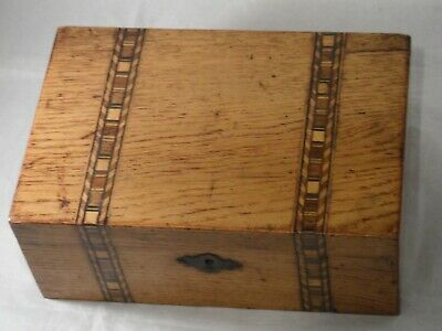 "Antique Wooden Small Box Inlaid Tunbridge Ware? For Restoring 9"" (23cms) Long"