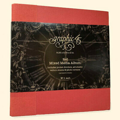 Graphic45 Staples- RED MIXED MEDIA ALBUM 8.25 x 8.75 x 2 scrapbooking w/INSERTS