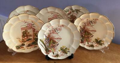 """Set 6 19C Aesthetic Movement Polychrome Plates 8.25"""" Red Green Flowers Gold Trim"""