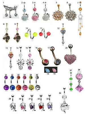 Belly Bar Navel Piercing Ring Surgical Steel CZ Gems Going Cheap