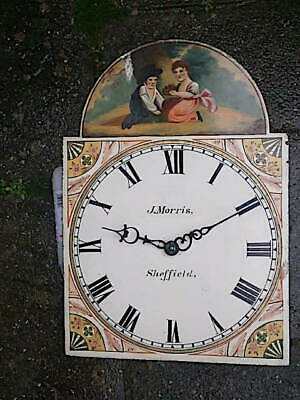 C1840 30 HR LONGCASE GRANDFATHER CLOCK DIAL+movement 13X18  SHEFIELD