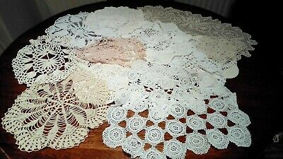 Assorted Vintage hand made Crochet doilies and mats.
