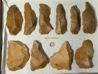 40.000Y.O:12 ARTIFACTS 114mms NEANDERTHAL FLINT STONE AGE PALEOLITHIC MOUSTERIAN