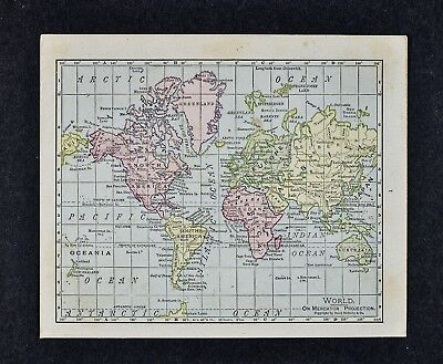 1917 McNally Map - World - Europe Asia Africa North South America Australia USA