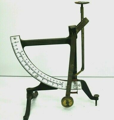 Vintage German Jacob Maul Concav Letter Postal Scale Cast Iron Enamel